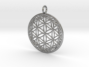 Hyperbolic Seed of Life 40mm in Natural Silver