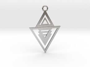 Geometrical pendant no.13 in Natural Silver: Medium