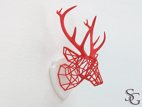 small deer head (no base plate) in Red Processed Versatile Plastic