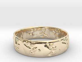 Paw prints and hearts ring in 14k Gold Plated Brass: 6 / 51.5