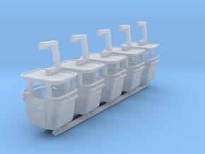 N scale skyride Gondolas 5 Pack in Smooth Fine Detail Plastic