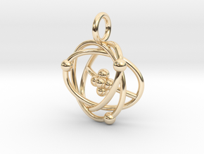 Atomic Model Pendant - Science Jewelry in 14k Gold Plated Brass
