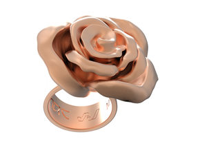 Rosa solitaria_M in 14k Rose Gold Plated Brass