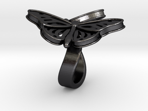 Butterflies in Love_S in Polished and Bronzed Black Steel