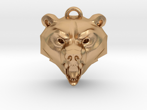 Bear Medallion (hollow version) small in Natural Bronze: Small