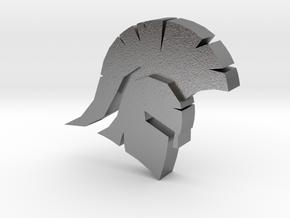 Spartan Head Charm in Natural Silver