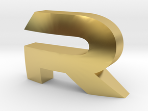 Letter-Ecocentric-R in Polished Brass