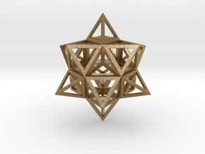"Wireframe Stellated Vector Equilibrium 3""  in Polished Gold Steel"