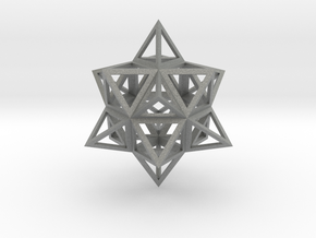 Wireframe Stellated Vector Equilibrium  in Gray PA12