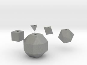 Basic geometric shapes D4 D6 D8 D20 D26 (hollow) in Gray Professional Plastic