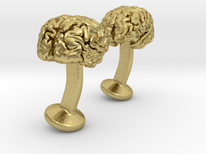 Brain Cufflinks in Natural Brass