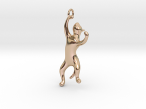 Playing Cat Pendant in 14k Rose Gold Plated Brass