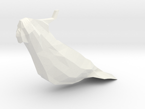 Low Poly Sulfur Crested Cockatoo in White Natural Versatile Plastic: Small