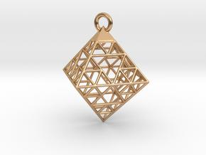 Wire Sierpinski Octahedron Pendant in Polished Bronze