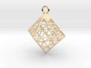 Wire Sierpinski Octahedron Pendant in 14K Yellow Gold