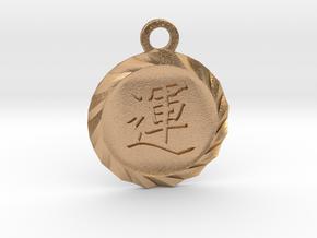 Kanji Luck Talisman Pendant in Natural Bronze