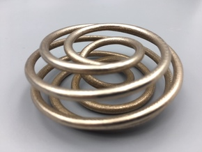 Steel Torus Knot (7,2) in Polished Bronzed-Silver Steel
