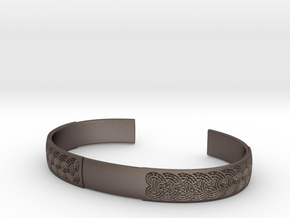 Borre motif cuff - L in Polished Bronzed-Silver Steel