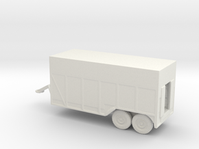 1/100 Scale 6x6 Jeep Ambulance Van Trailer in White Natural Versatile Plastic