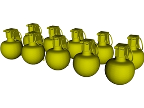 1/18 scale M-67 fragmentation grenades x 10 in Smooth Fine Detail Plastic