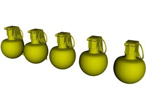 1/18 scale M-67 fragmentation grenades x 5 in Smooth Fine Detail Plastic