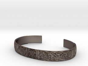 Osberg Motif Cuff (L) in Polished Bronzed-Silver Steel