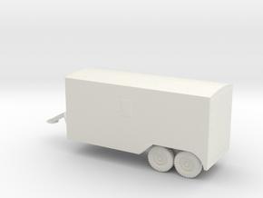 1/87 Scale 6x6 Jeep Van Trailer in White Natural Versatile Plastic