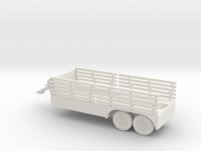 1/72 Scale 6x6 Jeep Cargo Trailer with Crane in White Natural Versatile Plastic