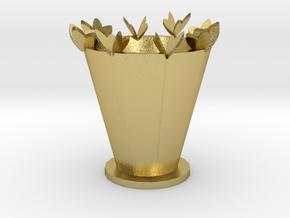 Colorful vase in Natural Brass