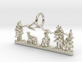 Mountain Peace Pendant in 14k White Gold: Medium