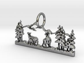 Mountain Peace Pendant in Antique Silver: Medium
