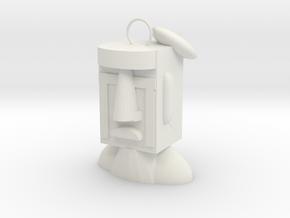 Easter Island Stone Statue (Sad) in White Natural Versatile Plastic