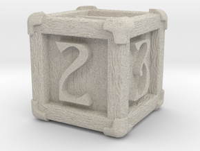 High Detailed Wood Dice with Numbers in Natural Sandstone: Small
