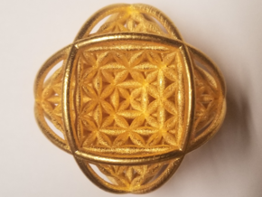 """Ball Of Life v2 2.5"""" Sphere  in Polished Gold Steel"""