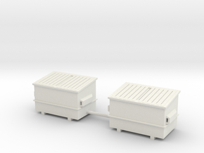 dumpster scale 1/87 (2 pieces) in White Natural Versatile Plastic