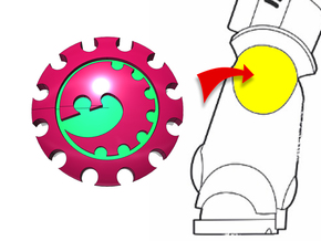 20x Gear Worm : Small Concave Insignias in Smooth Fine Detail Plastic