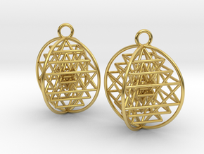 "3D Sri Yantra Earrings 1""  in Polished Brass"