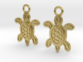 Tribal Turtle Earrings in Natural Brass