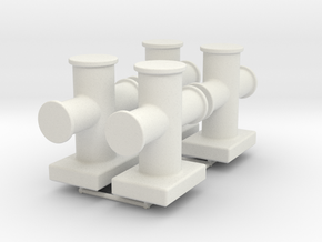 Cruciform bollard type 400 - 1:50 - 4X in White Natural Versatile Plastic