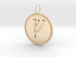 Nordic Fehu Rope Pendant in 14k Gold Plated Brass