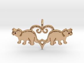 Herbivore dinosaur pendant - precious metals in Polished Bronze