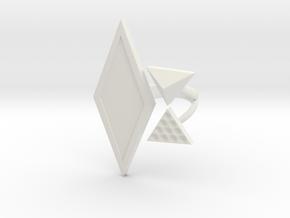 Black Rhombus Cosplay Ring (Car Chase) in White Natural Versatile Plastic: 1.5 / 40.5