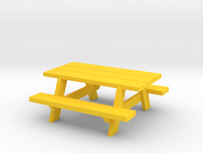 Picnic Table in Yellow Processed Versatile Plastic: 1:64 - S