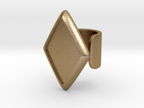 Black Rhombus Cosplay Ring (Club Scene) in Polished Gold Steel: 1.5 / 40.5