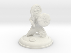 Gingerbread Knight with Peppermint Shield 25mm in White Natural Versatile Plastic