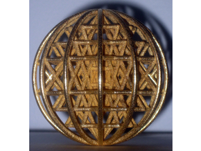 "3D Sri Yantra 12 Sided Symmetrical 3"" Sphere in Polished Gold Steel"