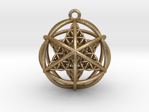 "Flower of Life Planetary Merkaba 1.4"" in Polished Gold Steel"