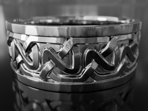 Persian / Pictish style celtic knot ring in Fine Detail Polished Silver: 6 / 51.5