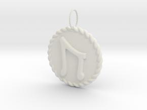 Nordic Rune Uruz Rope Pendant in White Natural Versatile Plastic