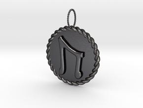 Nordic Rune Uruz Rope Pendant in Polished and Bronzed Black Steel